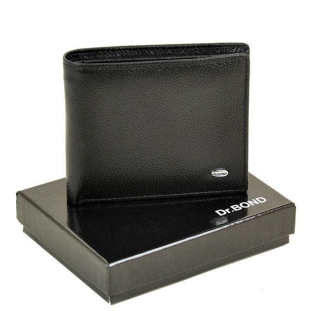 Чоловічий гаманець з затиском з натуральної шкіри Dr. Bond Classic. Шкіряний гаманець - затискач. Чорний і коричневий.