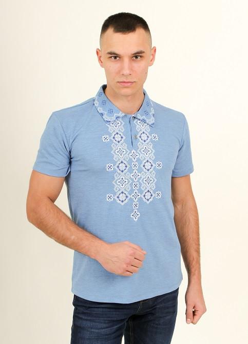 Мужская футболка полос вышитым серым орнаментом