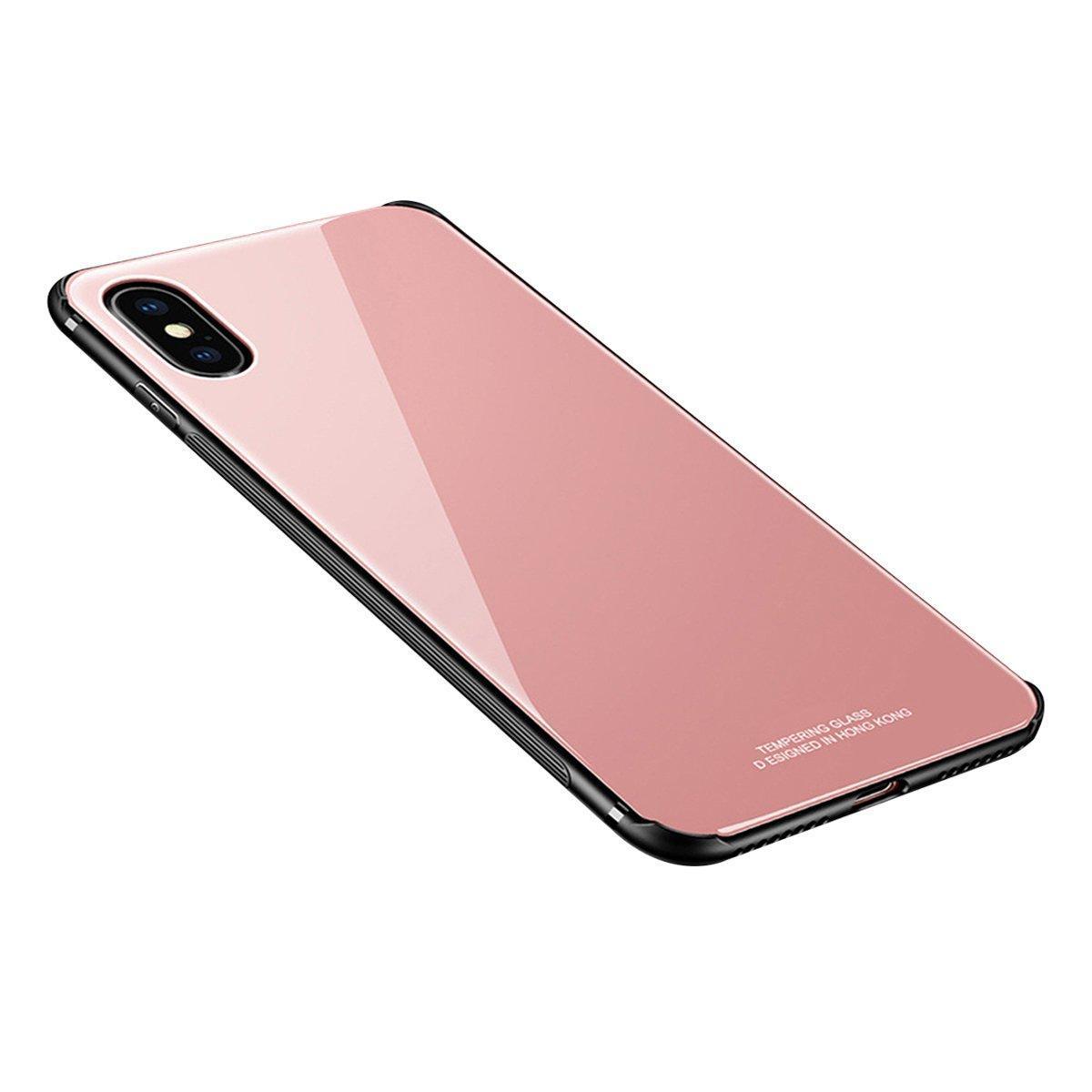 "Накладка iPhone XS Max ""Glass Case"" Розовая"