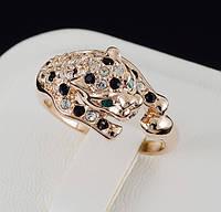"""Потрясающее кольцо """"Леопард"""" с кристаллами Swarovski и c позолотой 0453"""