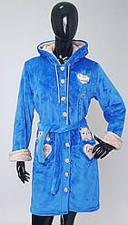 Махровый качественный женский халат с капюшоном