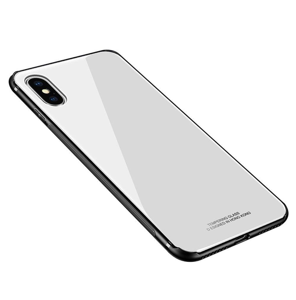 """Накладка iPhone XS Max """"Glass Case"""" Белая"""