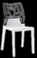 Стул Papatya Ego-Rock белое сиденье, верх прозрачно-дымчатый