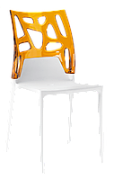 Стул Papatya Ego-Rock белое сиденье, верх прозрачно-оранжевый