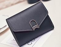 Женский маленький кошелек на кнопке цвет черный., фото 1
