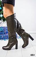 Сапоги женски кожаные оливкого цвета , фото 1