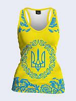 "Женская майка-борцовка 3D ""Герб Украины"""