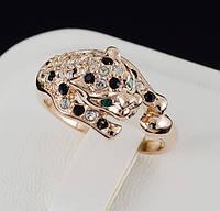 """Потрясающее кольцо """"Леопард"""" с кристаллами Swarovski и c позолотой 0453 16 Черный"""