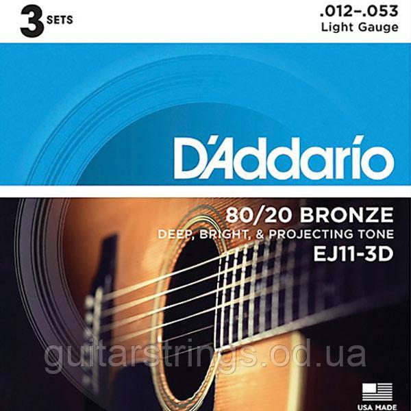 Струны D'Addario EJ11-3D Bronze 80/20 12-53 1 set