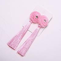 Сережки Кисті з квіткою рожеві d-32мм L-120мм