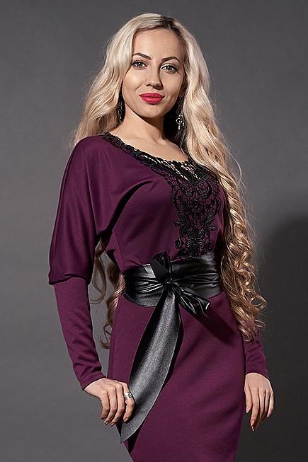 Оригінальне трикотажне плаття з мереживом розмір 40-52