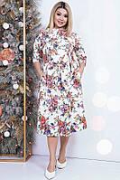 Яркое цветочное женское платье 42534 (42–54р)в расцветках, фото 1