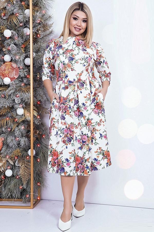 Яркое цветочное женское платье 42534 (42–54р)в расцветках