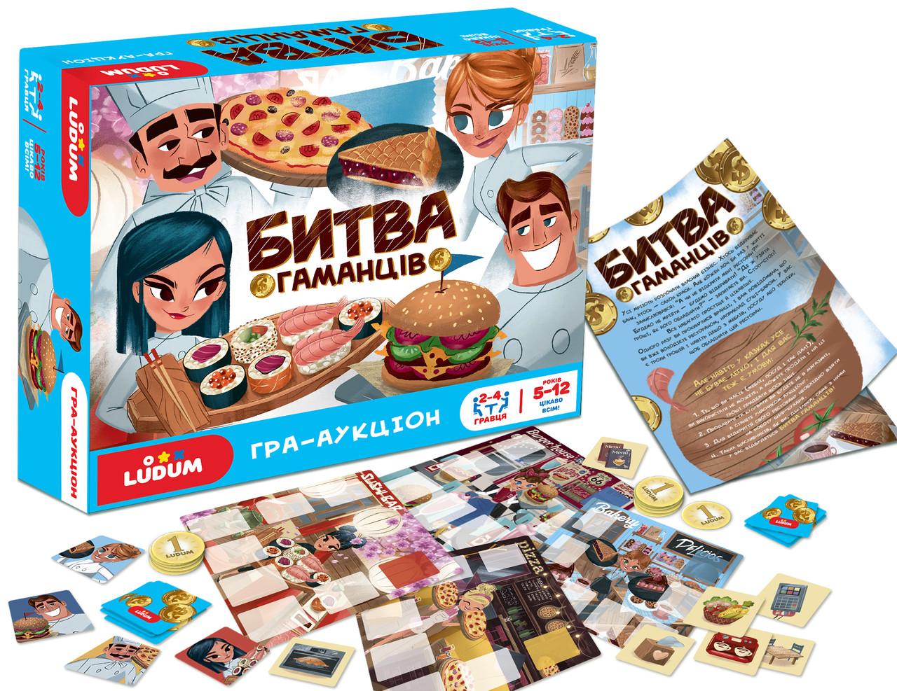 Детская настольная игра - аукцион для детей 5-12 лет Битва кошельков ТМ LUDUM