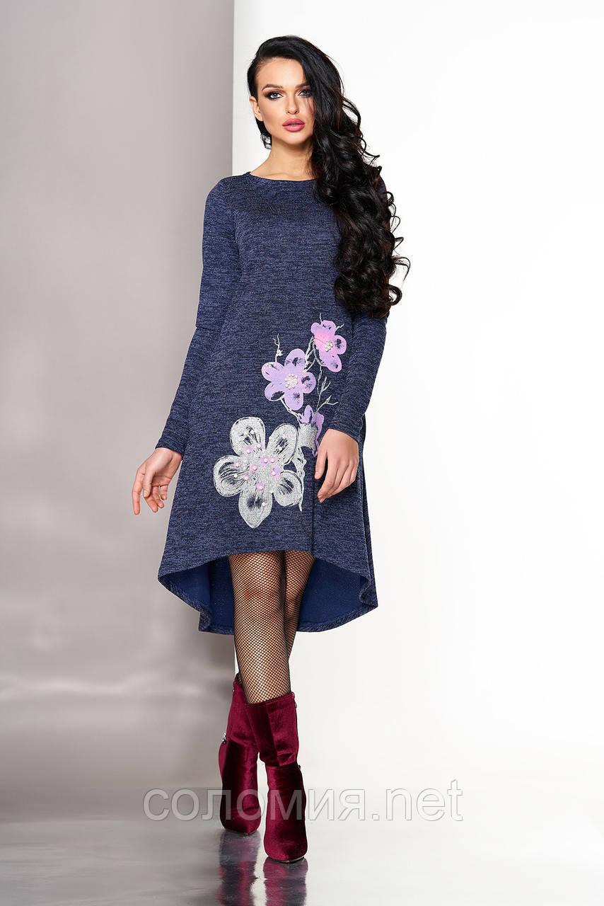 5158613fa94 Стильное Трикотажное платье с удлиненной спинкой 44-50р - Интернет-магазин