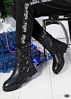 Сапожки женские с пряжками черные, фото 1