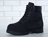 Мужские зимние ботинки Timberland Classic Boots 'Black' (в стиле Тимберленд) черные, натуральный нубук, мех