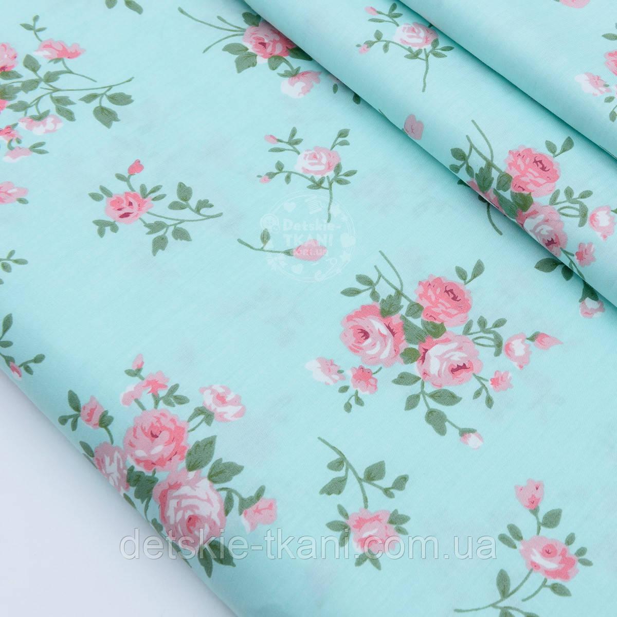 """Сатин ткань """"Веточки розовых роз"""" на мятно-бирюзовом №1737с"""