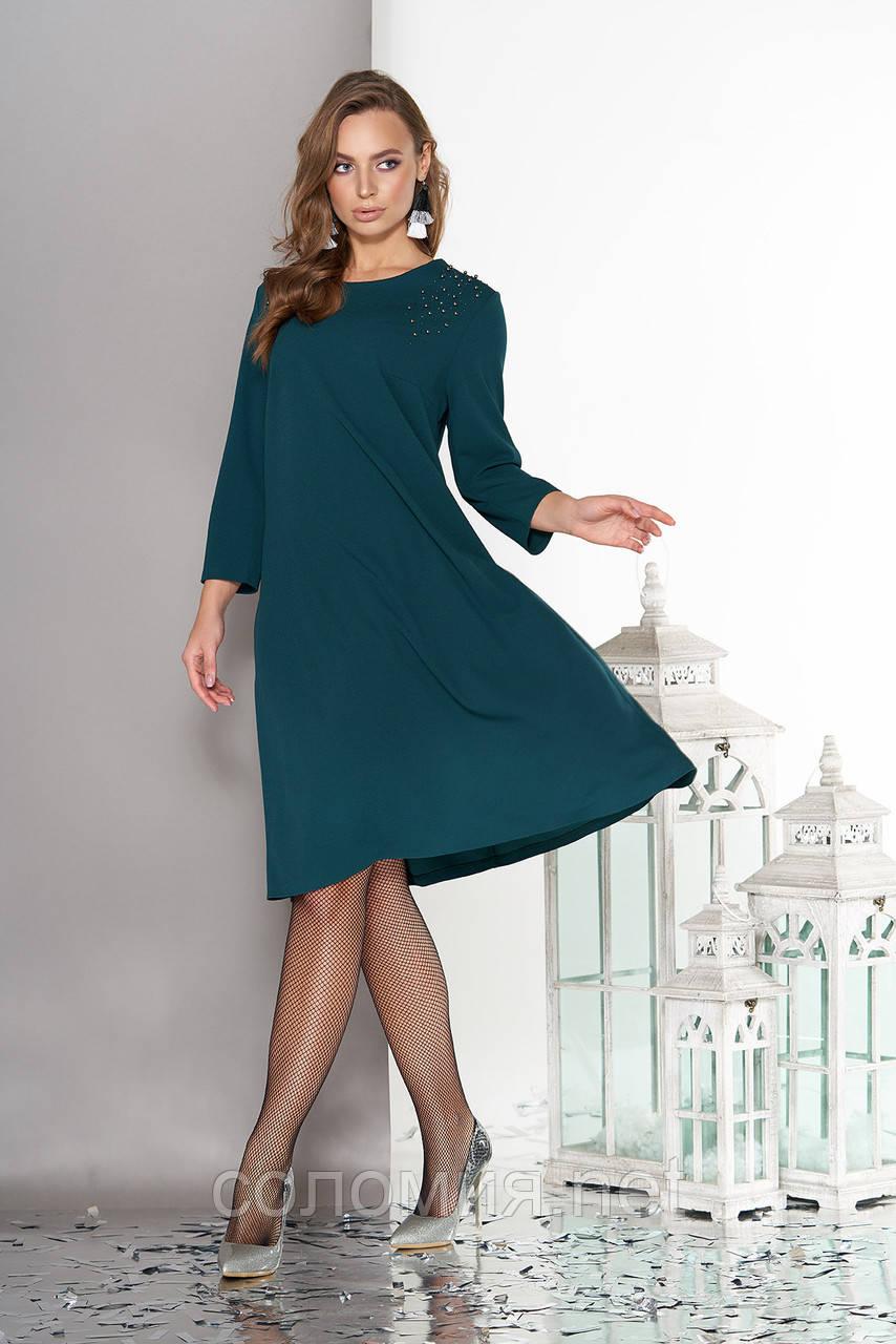 Модне плаття з обробкою термо-стразами і намистинами-заклепками 48-52р