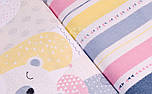 """Сатин ткань """"Полосы и стрелки"""" жёлтые, розовые и серые на белом, № 1722с, фото 6"""