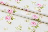 """Сатин ткань """"Розы с салатовыми листьями и белыми точками"""" на молочном №1738с, фото 2"""