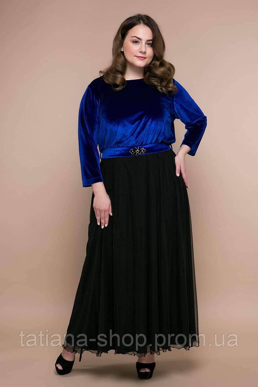 Вечернее платье из бархата АНАБЕЛЬ синее, фото 1