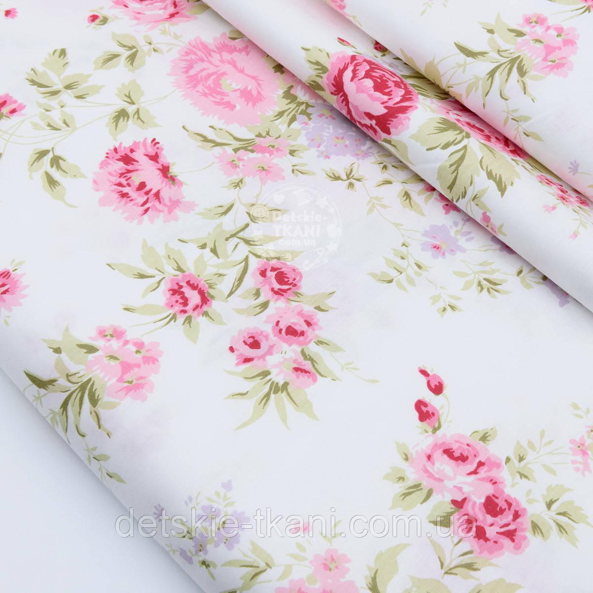 """Сатин ткань """"Розовые пионы и мелкие сиреневые цветочки"""" на белом фоне, №1739с"""