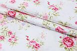 """Сатин ткань """"Розовые пионы и мелкие сиреневые цветочки"""" на белом фоне, №1739с, фото 3"""