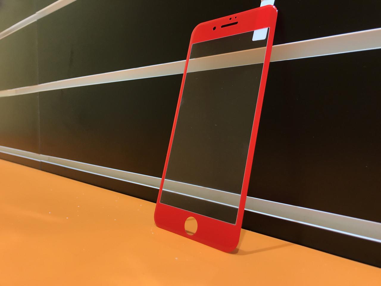 Защитное стекло 3D Carbon  для iPhone 7 Plus Red