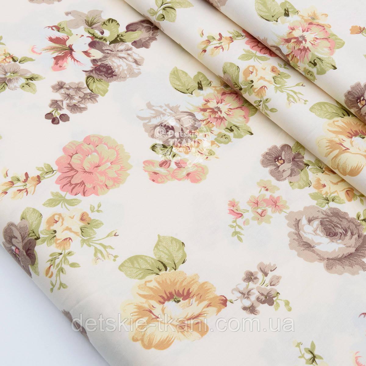 """Сатин ткань """"Фиалки и розы бежево-коричневого цвета"""" на кремовом №1740с"""