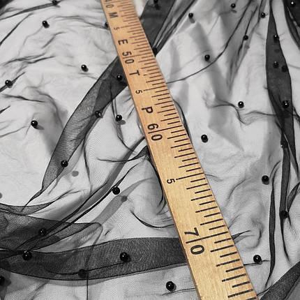 Тканина сітка з намистинами чорна, фото 2