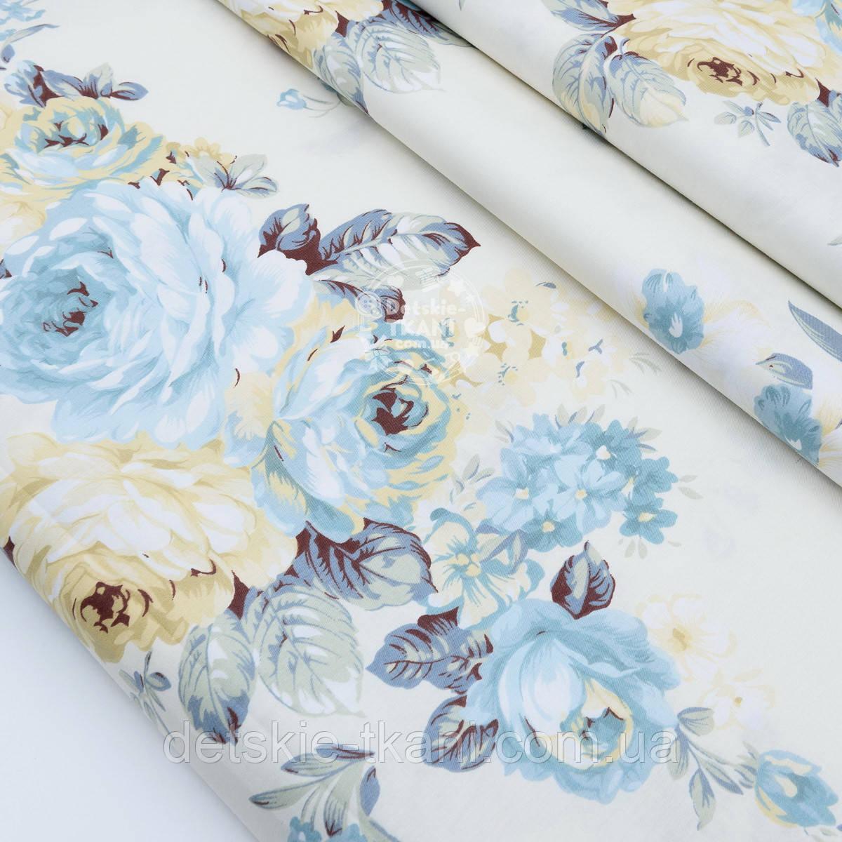"""Сатин ткань """"Большие бледно-голубые и кремовые розы"""" на молочном №1743с"""