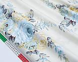 """Сатин ткань """"Большие бледно-голубые и кремовые розы"""" на молочном №1743с, фото 3"""