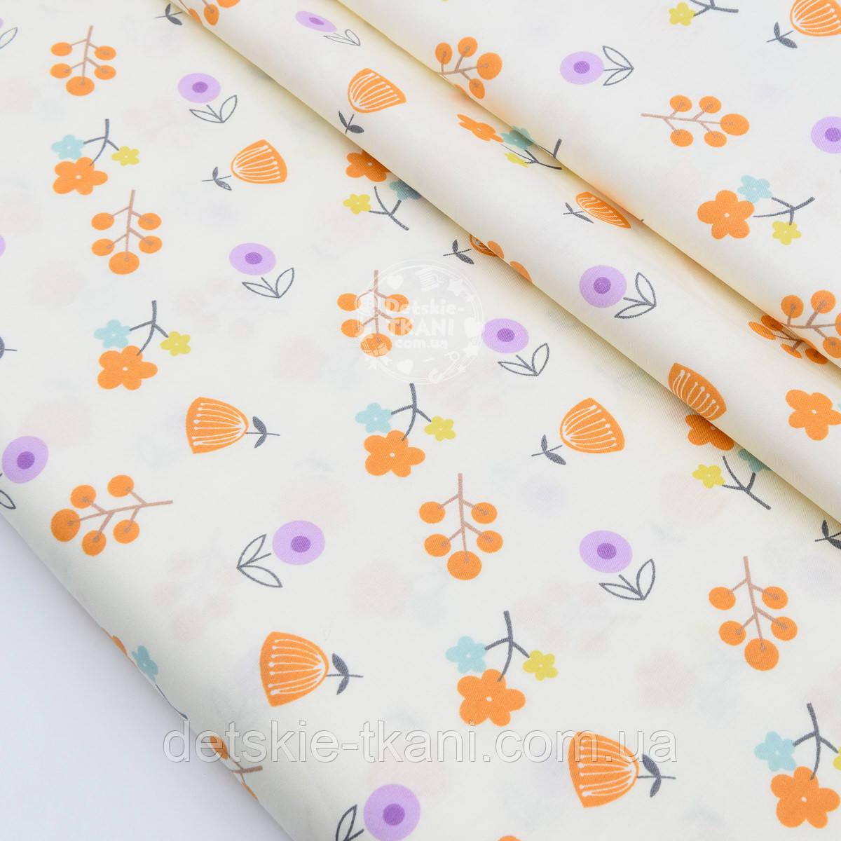 """Сатин ткань """"Оранжевые и сиреневые веточки"""" на кремовом, № 1745с"""
