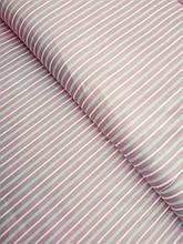Сатин ( премиум ткань)  на пудре серо-розовая полоска(компаньон перышки)