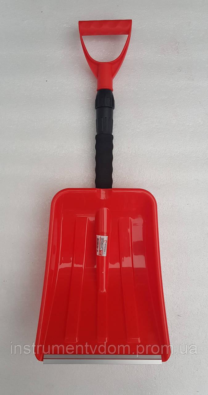 Лопата для снега INTERTOOL красная (с телескопической ручкой)