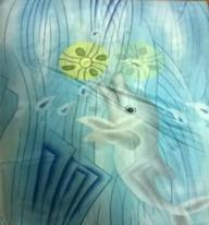 Шторка для ванної тканина парасоля дельфін блакитний