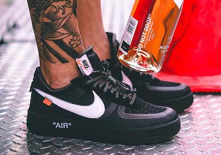 "Кроссовки Nike x Off-White Air Force 1 Low ""Black"" (Черные), фото 2"