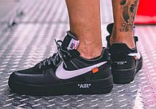 "Кроссовки Nike x Off-White Air Force 1 Low ""Black"" (Черные), фото 3"
