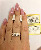 Серебряный комплект УС-114 серьги и кольцо с золотыми вставками