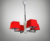 Люстра с красными абажурами для спальни, гостиной, кафе 14107-1