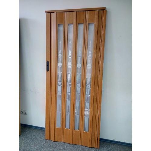 Дверь гармошка межкомнатная остекленная 860х2030х12мм