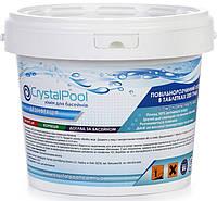 Химия для бассейна Crystal Pool длительный хлор в таблетках Slow Chlorine Tablets Large - 5кг (табл.200г)