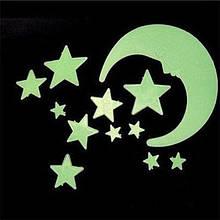 Стіни наклейки для дітей, 3D Місяць зірки світяться в темряві.