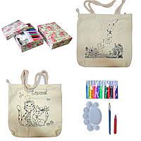 РОСПИСЬ НА СУМОЧКЕ, в наборе: палитра, 2 кисти, сумка-раскраска 35х32см ручки 24см, 12 красок в тюбиках.