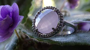 Серебряное женское кольцо с розовым фианитом