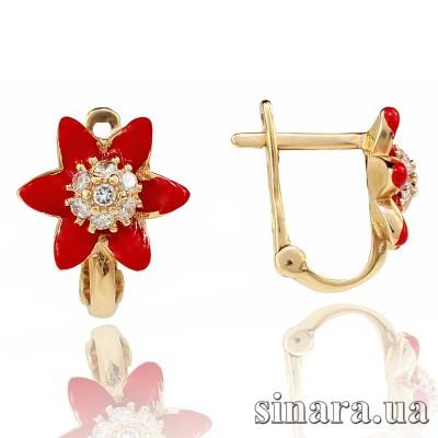 Золотые серьги с эмалью Цветочки