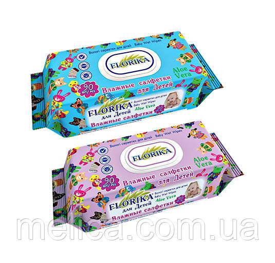 Влажные салфетки для детей Florika Aloe Vera с пластиковым клапаном - 90 шт.