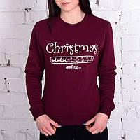 Женский зимний свитшот Cristmas Loading утепленный хорошего качества бордовый, фото 1