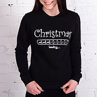 Женский зимний свитшот Cristmas утепленный хорошего качества черный, фото 1